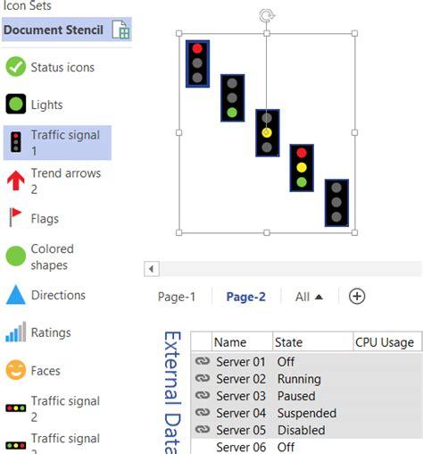 visio display shape data using icon sets shapes to display shape data values