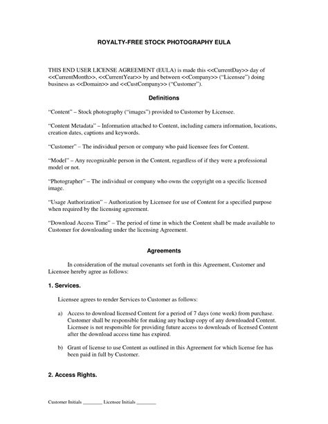 royalty license agreement template royalty free stock photography eula photography service