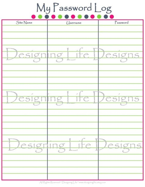 password log template 8 best images of printable password and username logs