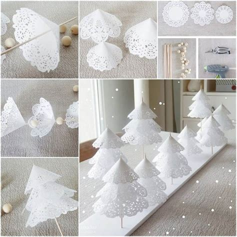 Pretty Craft Paper - creative ideas diy pretty paper doily trees