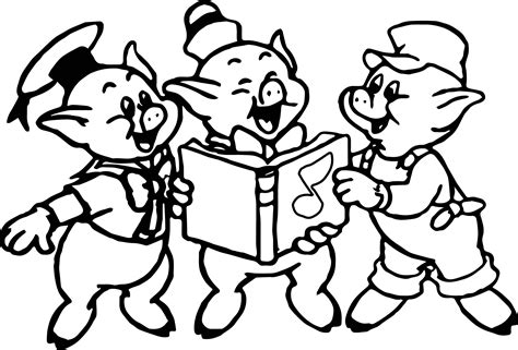 three little pigs music book coloring pages