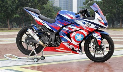 Stiker Captain Americasticker Boddy Mobil Stiker Cutting modifikasi kawasaki 250r captain america