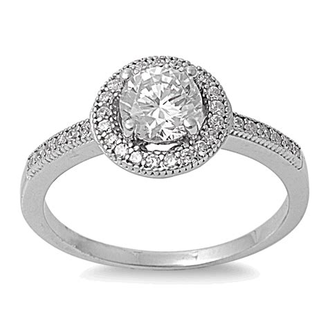 sterling silver clear cz halo engagement ring