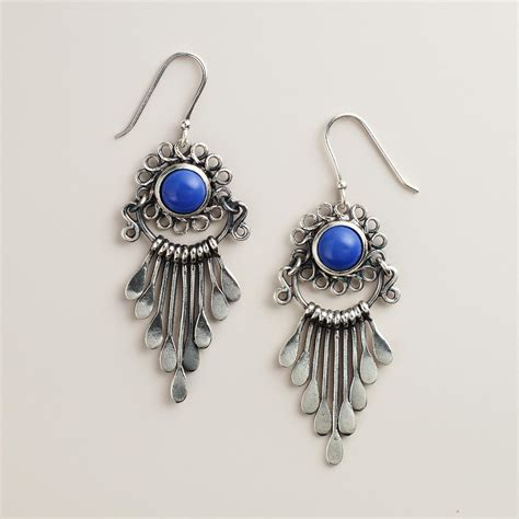 silver and blue dangle earrings world market