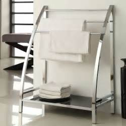 chrome finish towel bathroom rack stand glass shelf