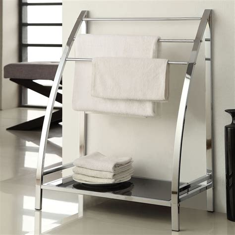 Bathroom Rack Shelf by Chrome Finish Towel Bathroom Rack Stand Glass Shelf
