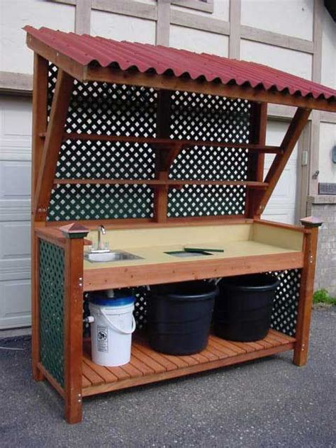 outdoor potting bench plans outdoor potting bench with sink plans woodworking