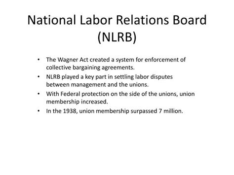 national labor relations act section 7 ppt the labor movement powerpoint presentation id 2200431