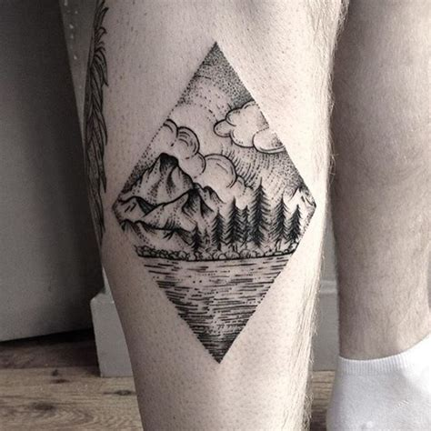 mountain landscape tattoo beautiful landscape done by sergeant fox for
