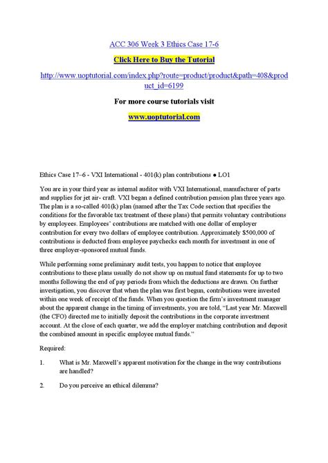 acc section 306 acc 306 week 3 ethics case 17 by vishnuk31 issuu
