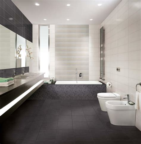 Bright Bathroom With Pretty Black Accents Tiles Flooring Modern Bathrooms 2014