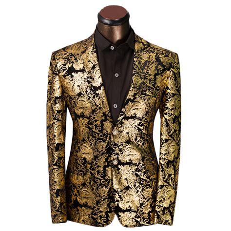 Gold Pattern Blazer   2015 new arrival gold suits mens luxury print blazer