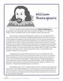 shakespeare biography worksheet education com