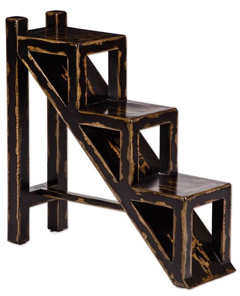 uttermost asher black accent table asher distressed black stepped display stand table 25523