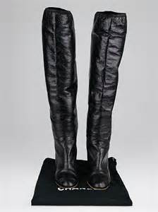 chanel black distressed leather cap toe knee high boots
