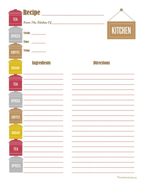 printable recipe card full page 478 best images about printable recipe cards on pinterest