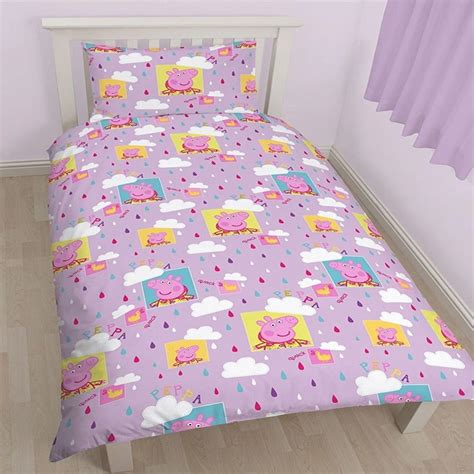 pig bedding peppa pig puddles single reversible duvet set quilt cover
