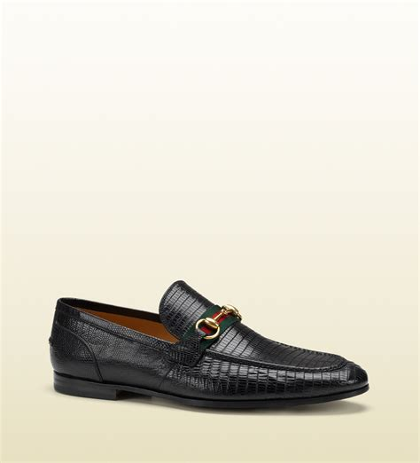 black gucci loafers gucci lizard horsebit loafer in black for lyst