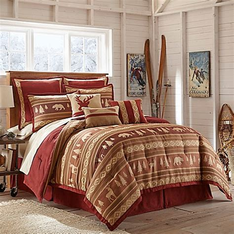 crescent lodge comforter set in burgundy bed bath amp beyond