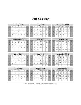 printable 2015 calendar on one page vertical week starts printable 2015 calendar on one page vertical shaded