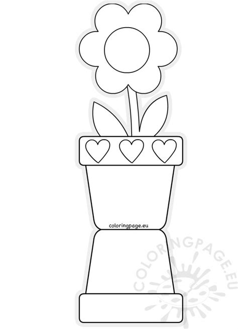 s day flower pot card 3d template flower pot shaped card template s day coloring page