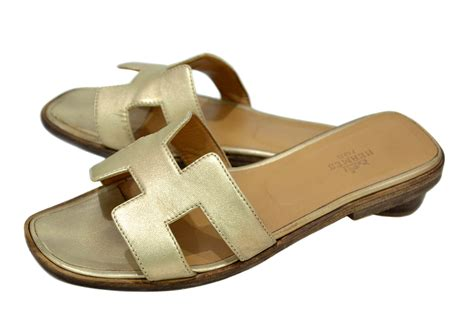 Authentic Hermes Oran Sandal Gold 37 used authentic hermes oran h sandals flat shoes slippers gold leather 37 7 ebay