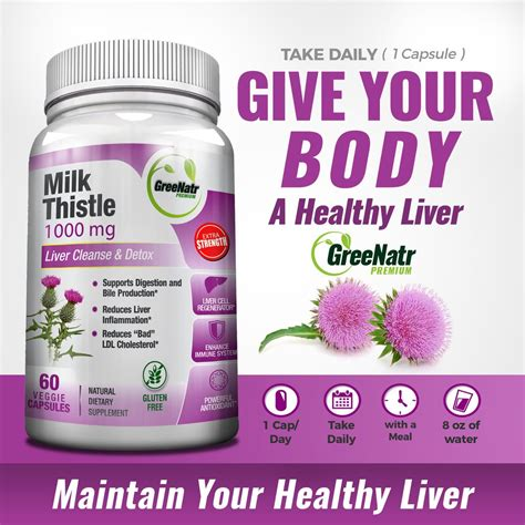 How To Take Milk Thistle For Liver Detox by Milk Thistle 1000 Mg Liver Cleanse Detox Greenatr