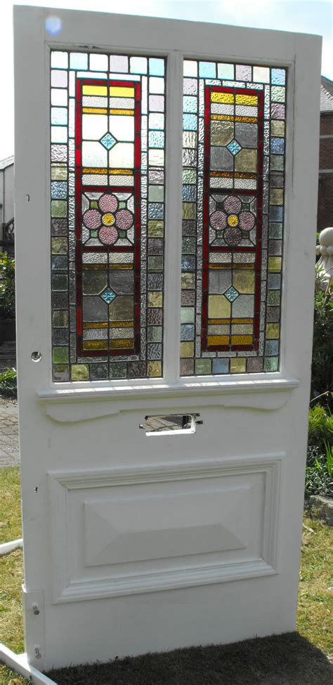 External Pantry by Substantial External Door Leaded Stained Glass