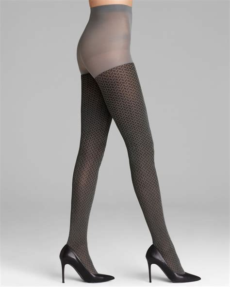patterned tights control top hue tights shimmer herringbone control top in gray steel