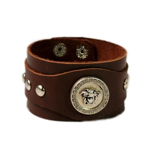 leather band silver charm brown leather wrist band leather wrist band wrist band