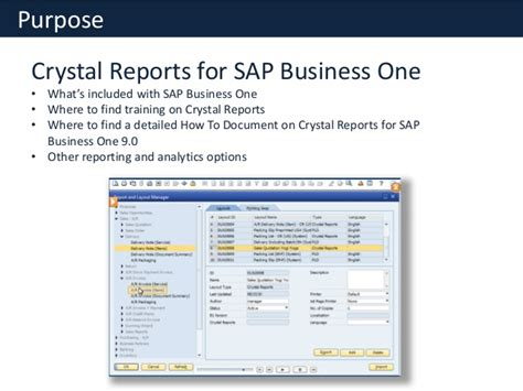 tutorial sap crystal reports crystal reports for sap business one overview free