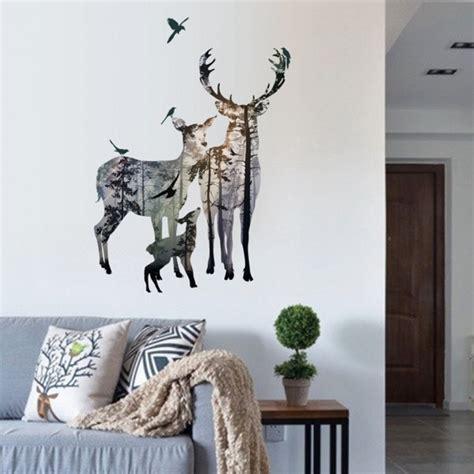deer family forest silhouette wall sticker animal birds