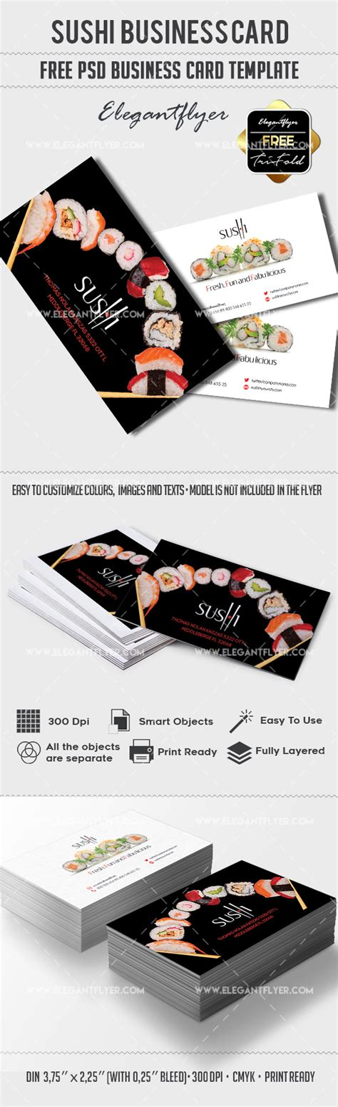 free psd business card templates with bleed sushi free business card psd template by elegantflyer