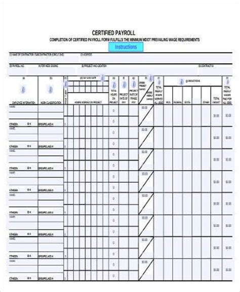 Certified Payroll Form Sles 9 Free Documents In Word Pdf Certified Payroll Template