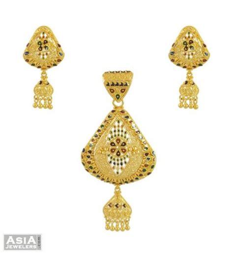 designer meenakari pendant set ajps54503 22k gold