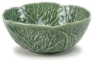 green cabbage leaf majolica pottery lg salad bowl