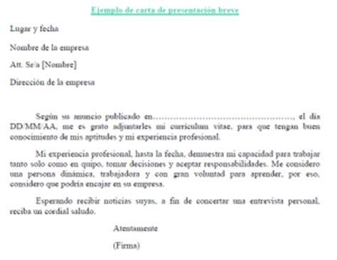 Plantillas De Curriculum Y Carta De Presentacion Ejemplo De Carta De Presentaci 243 N Breve Plantilla De Carta