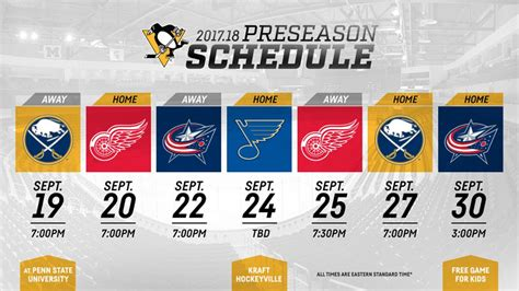 pens sabres to play preseason opener on sept 19 at penn