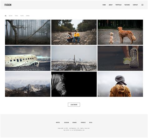 Fusion Photography Portfolio Psd Template By Clevertheme Themeforest Portfolio Grid Template