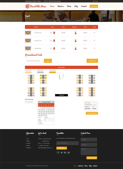 Pizza Restaurant Table Booking Html Template Codester Booking Website Template Free