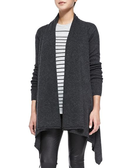 Vince Draped Open Front Cardigan Heather Carbon
