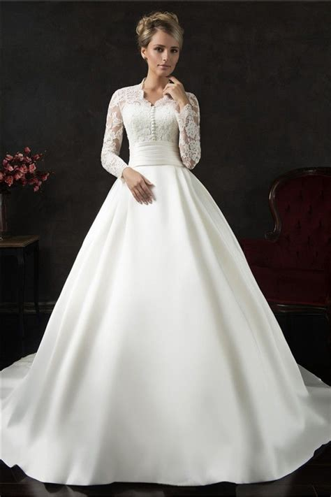 vintage ball gown long sleeve lace satin wedding dress