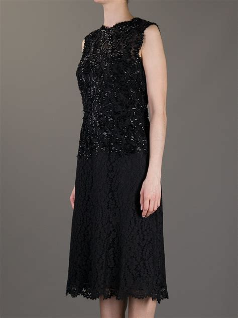 beaded lace dress valentino beaded lace dress in black lyst