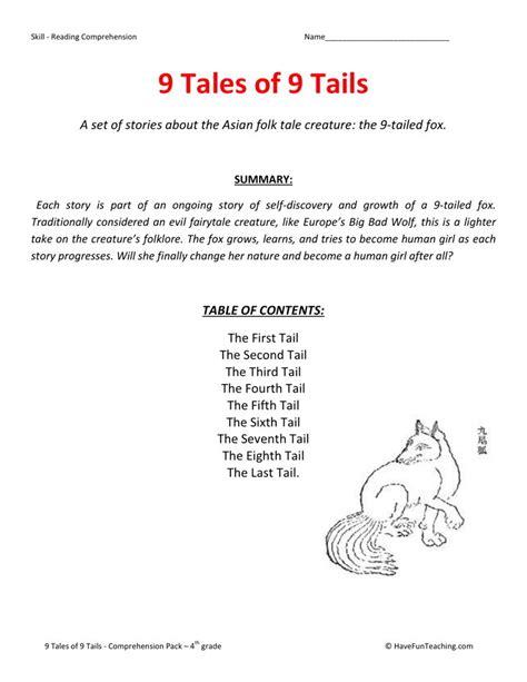 reading comprehension test for grade 9 reading comprehension worksheet 9 tales of 9 tails