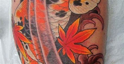koi tattoo with maple leaves koi tat japanese maple leaf i like it but with a