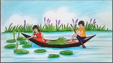 drawing of boat in water how to draw scenery of children collect water lily using