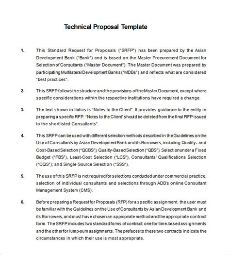 technical proposal templates 18 free word excel pdf