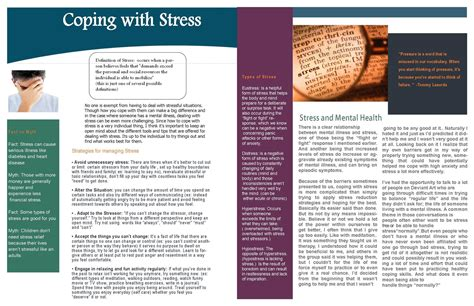 Coping With Stress Newsletter By Ilovekakashi28 On Deviantart Free Mental Health Brochure Templates