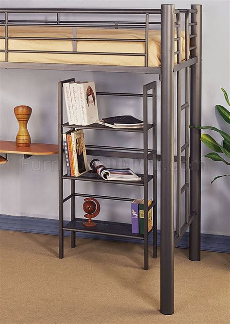 twin metal loft bed with desk siver metal contemporary twin loft bed w desk bookcase