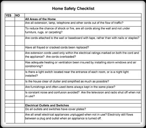 Home Safety Worksheets For by 5 Printable Home Safety Checklist And Worksheets Word